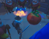 So i came across this in a desert biome inside a mine shaft. It was a bunch of gnome in a pit surrounding a chest and spinning tomato head. Nothing of value in the chest and the spinning tomato head cant be search and nothing happens after breaking it. Guess the devs added more easter eggs stuff.