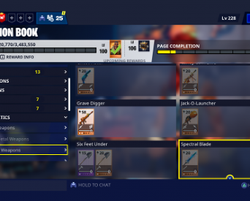 Spectral Blade is in the Fortnitemares Section?