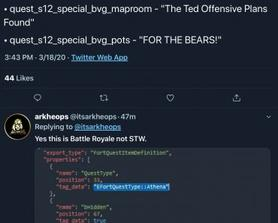 """Two quest types relating to """"bears"""" and Ted, for BR. Via @itsarkheops"""