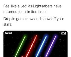 Maybe now we can get lightsabers? I know you are just working at home but just copy them with different numbers and we will be happy.