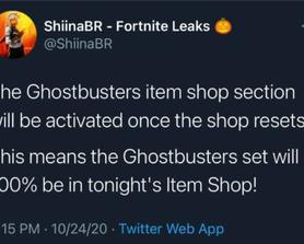 Ghostbusters bundles 100% coming on tonight's item shop according to: @ShiinaBR.