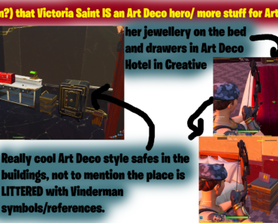 [THEORY] Victoria Saint is linked to Art Deco and (possibly) more Art Deco themed stuff planned for Save the World based on the Vinderman references in the Art Deco creative buildings...could be used in the new questline??
