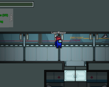 So doors broke and no one could get into cafeteria. The game ended when the imposter left.
